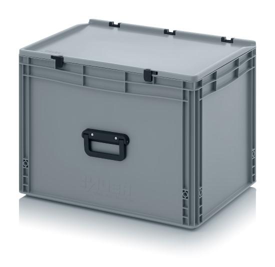 plastikbeh lter 60x40x43 5 mit griff deckel kunststoffbeh lter plastikkiste box ebay. Black Bedroom Furniture Sets. Home Design Ideas