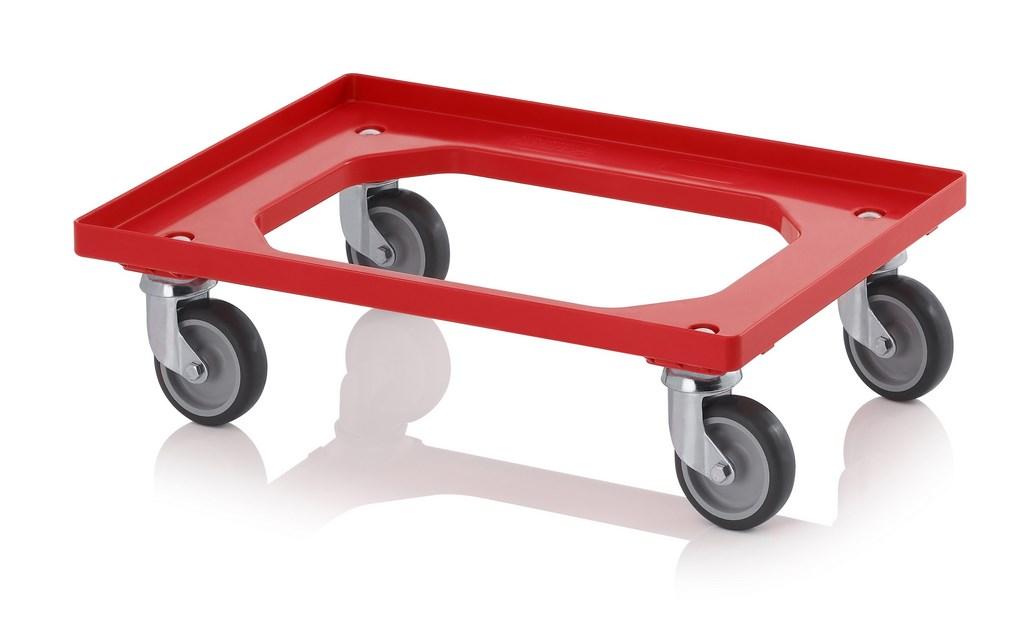Auer Transportroller mit Gummirädern 60x40 rot (4x Lenkräder)