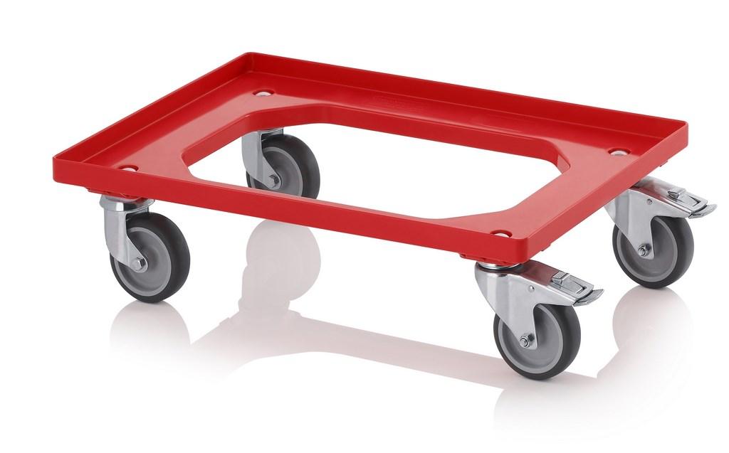Auer Transportroller mit Gummirädern 60x40 rot (4x Lenkräder/2x m. Bremse)